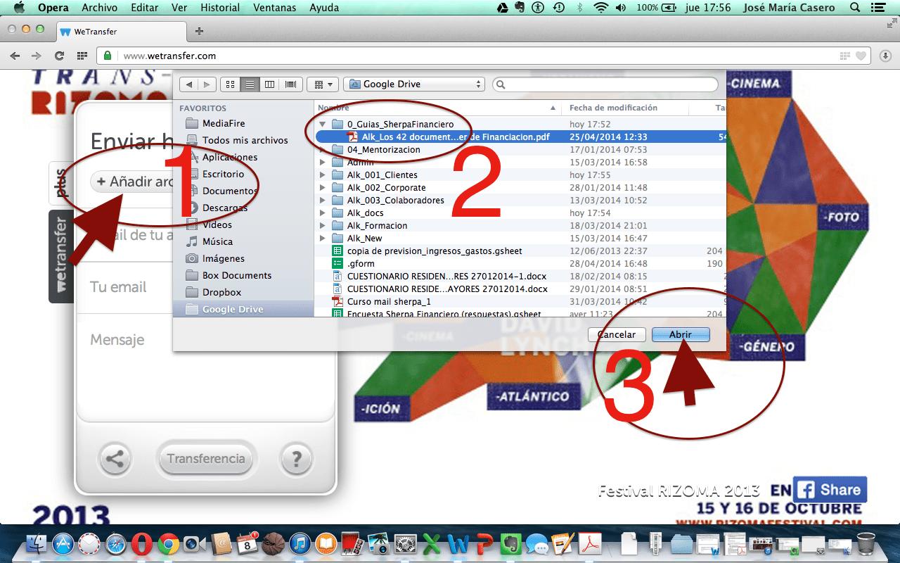 tutorial completo para enviar ficheros pesados con wetransfer